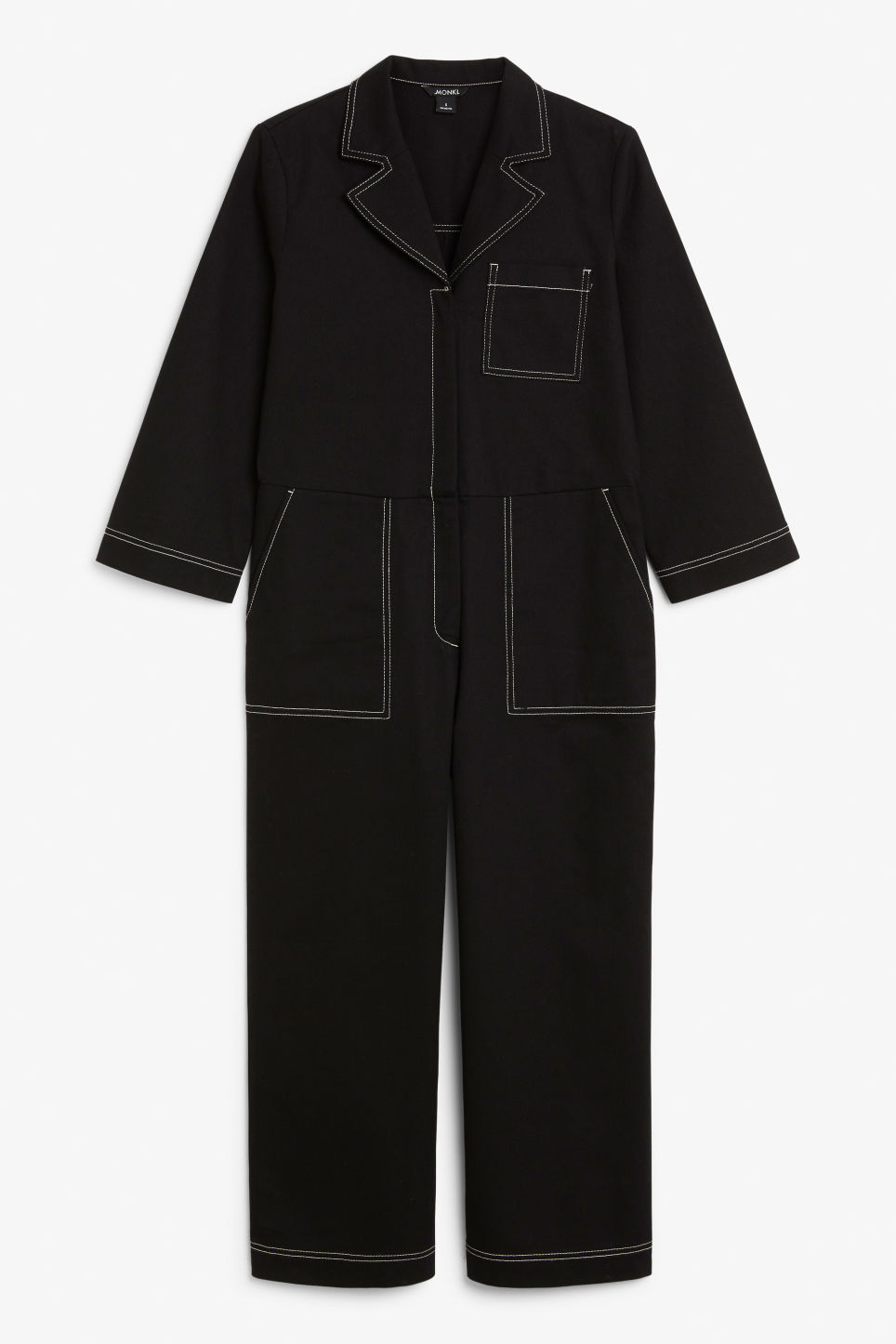 Front image of Monki utility boiler suit in black