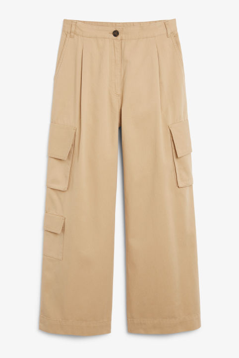 Front image of Monki wide leg utility trousers in beige