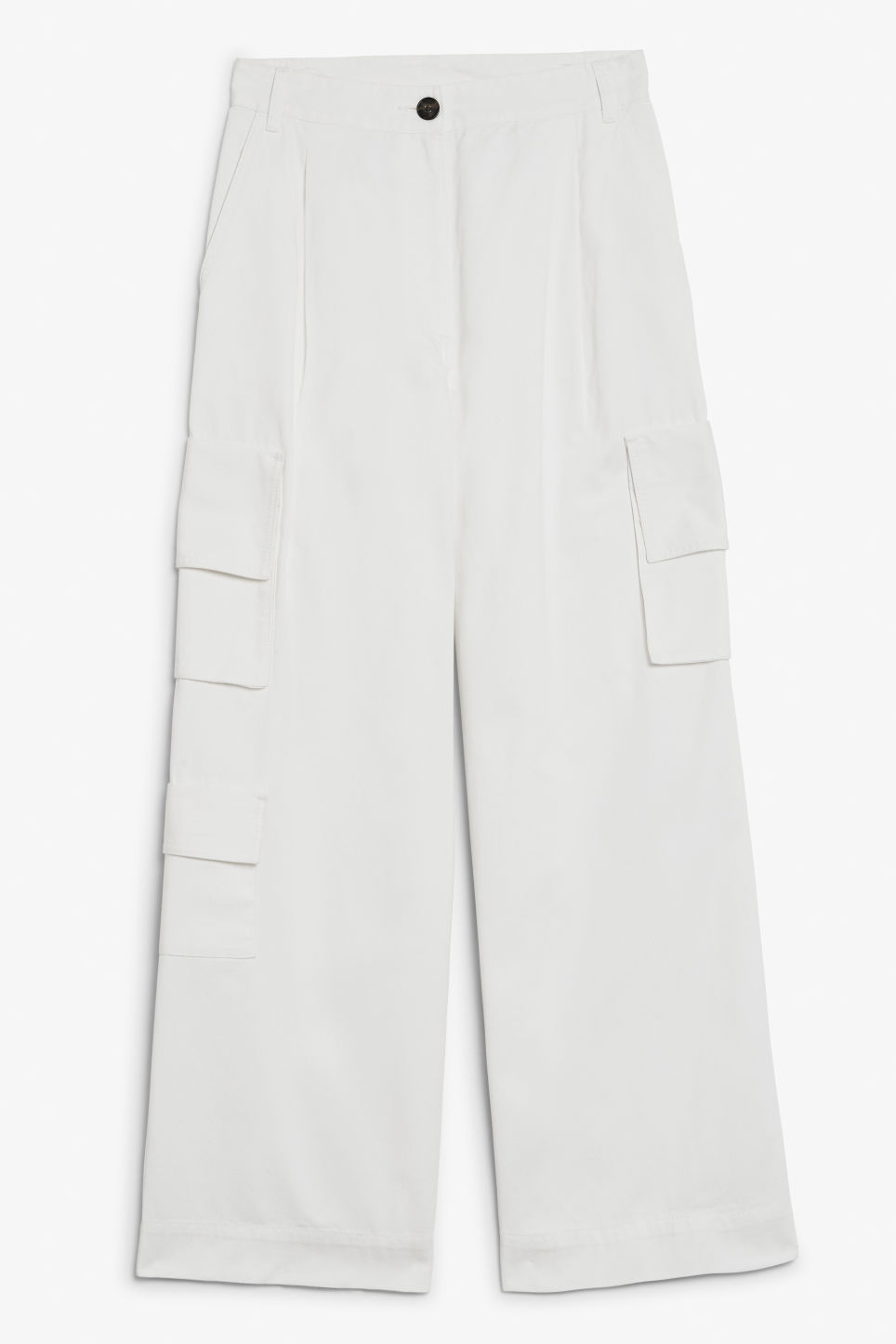 Front image of Monki wide leg utility trousers in white