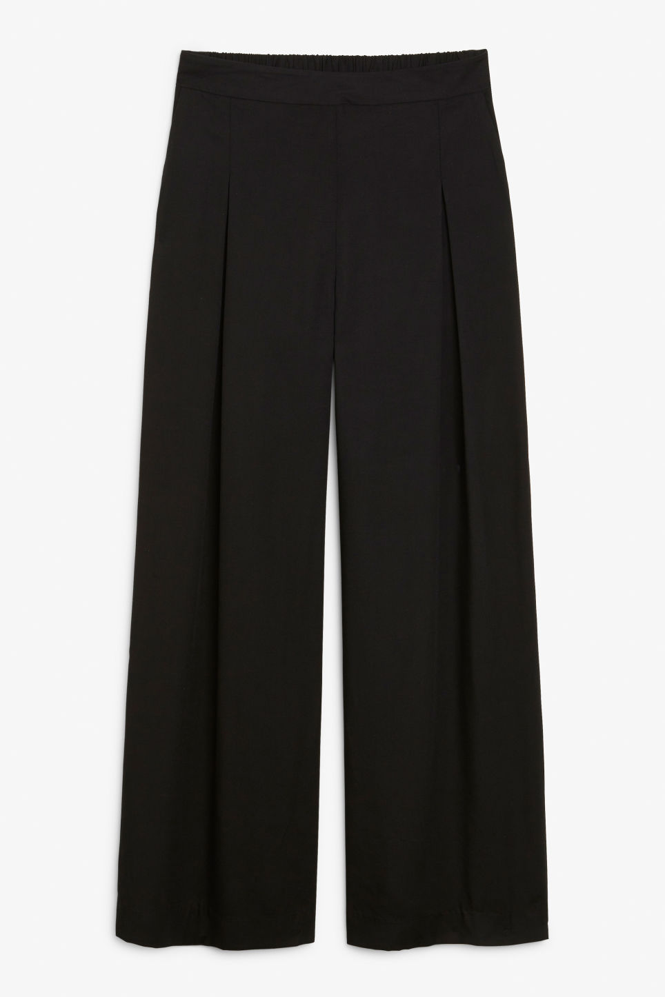 Front image of Monki super wide leg trousers in black
