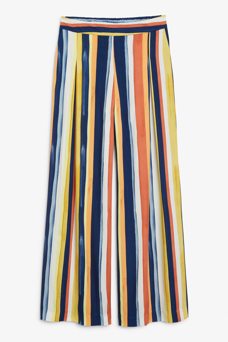 Front image of Monki super wide leg trousers in blue