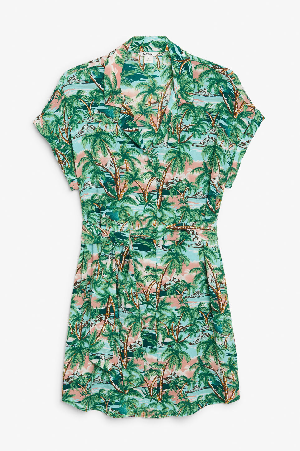 Front image of Monki belted shirt dress in turquoise