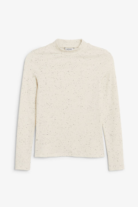 Front image of Monki long-sleeved top in white