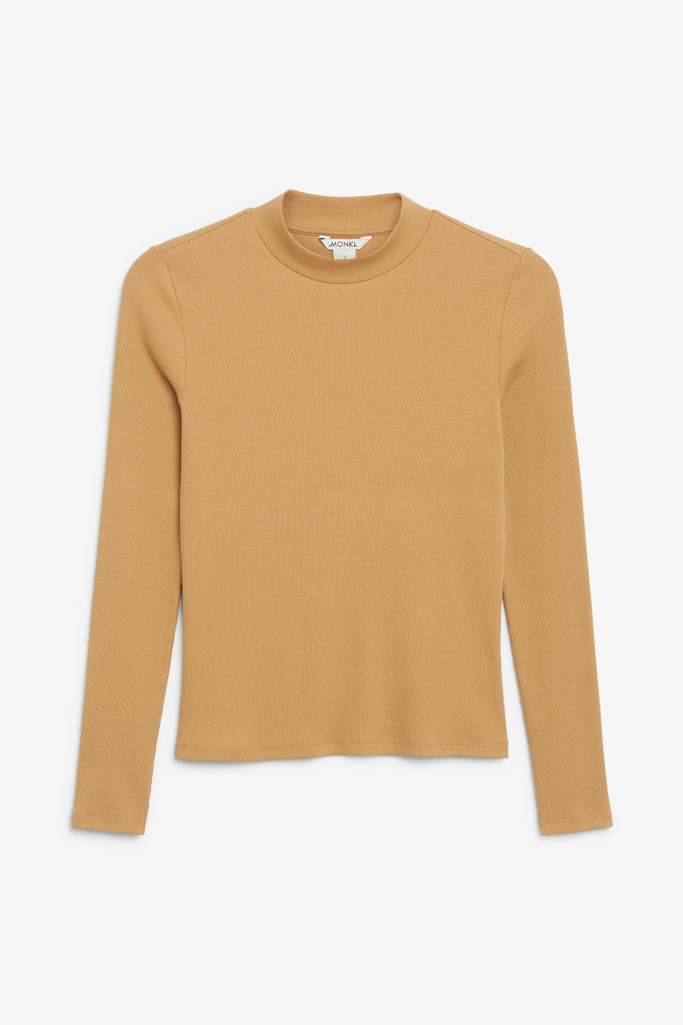 Front image of Monki long-sleeved low turtleneck top in yellow