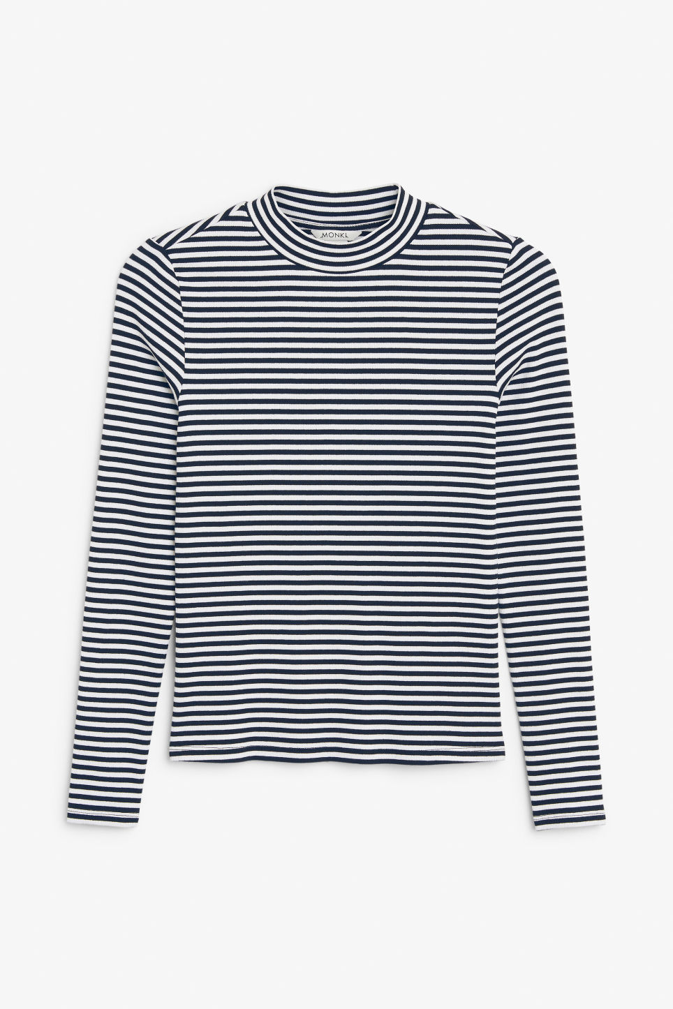 Front image of Monki long-sleeved low turtleneck top in blue