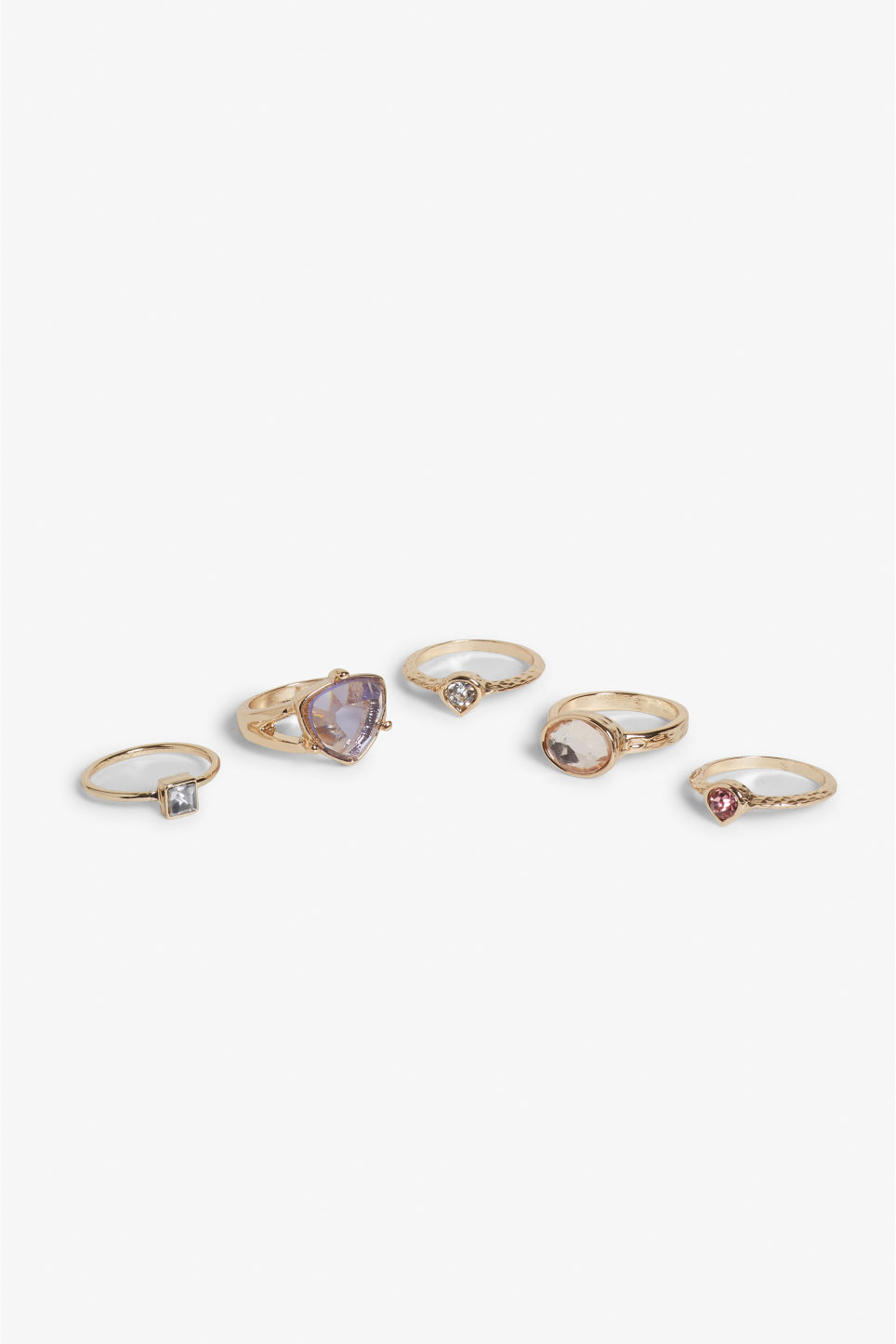 Front image of Monki assorted jewelled rings in gold