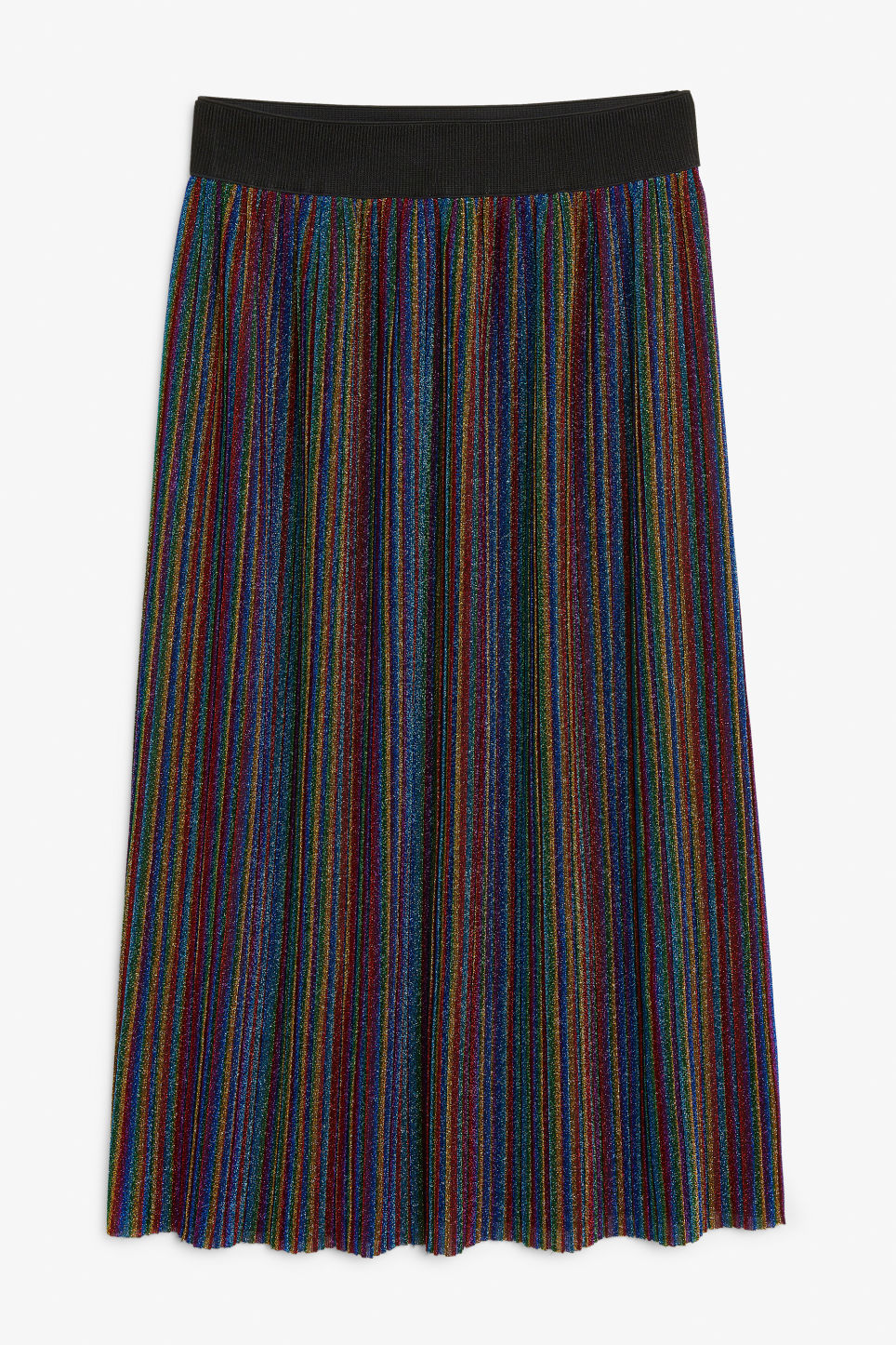 Front image of Monki pleated skirt in black