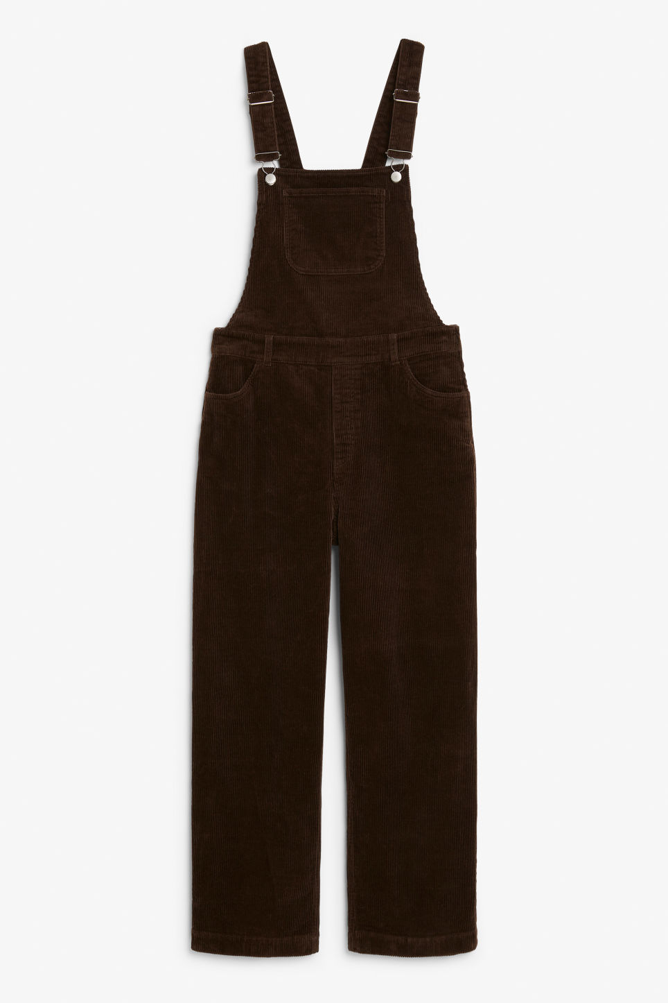 Front image of Monki classic dungarees in brown