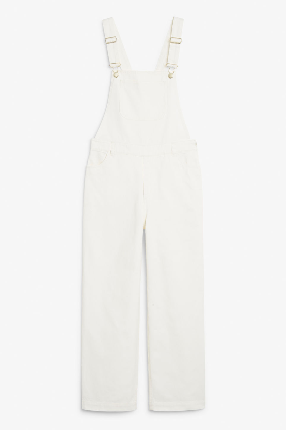 Front image of Monki classic dungarees in white
