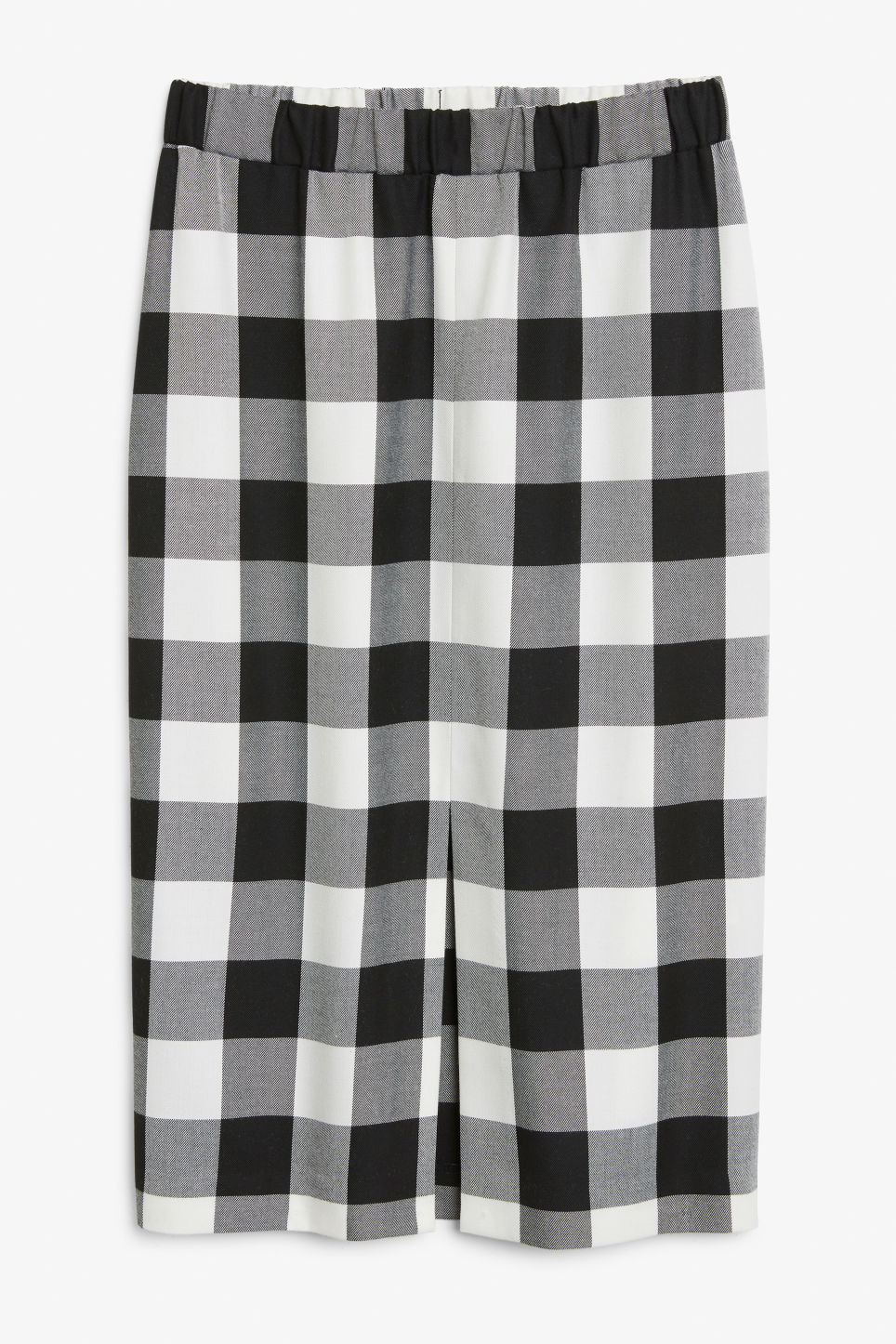 Front image of Monki checkered midi skirt in white