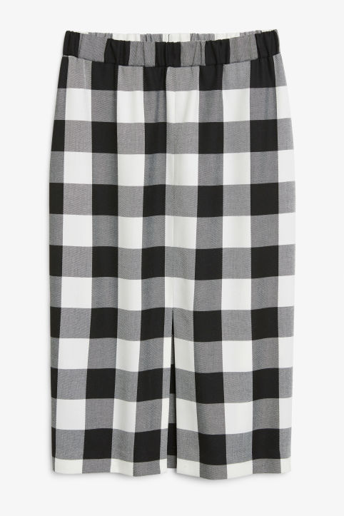 Checkered midi skirt