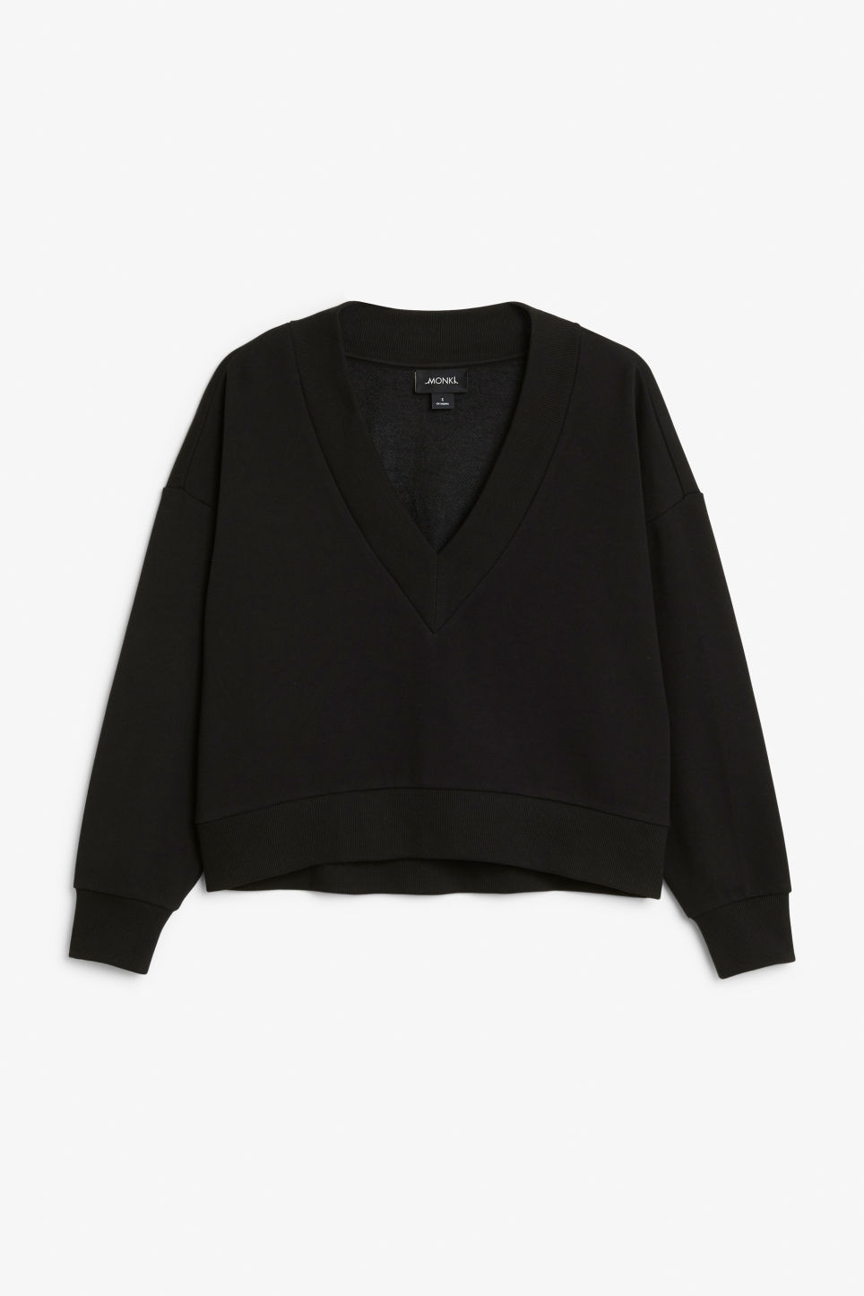 Front image of Monki v-neck sweatshirt in black
