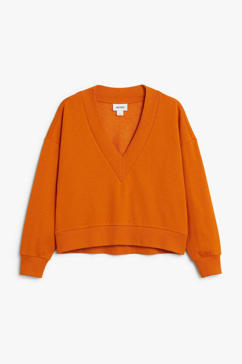 Front image of Monki v-neck sweatshirt in orange