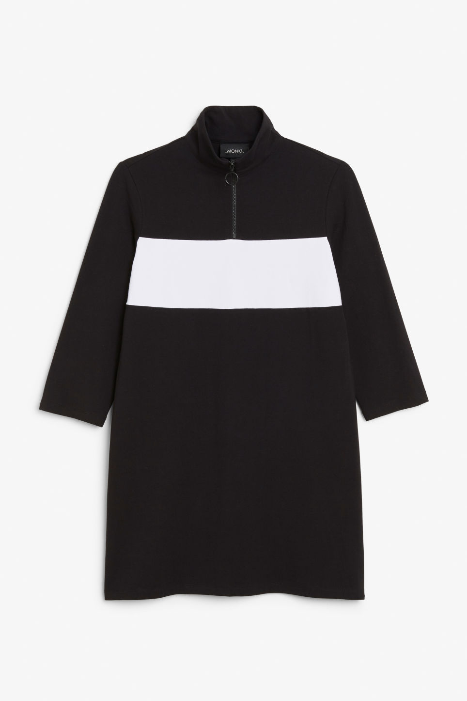 Front image of Monki colour block dress in black