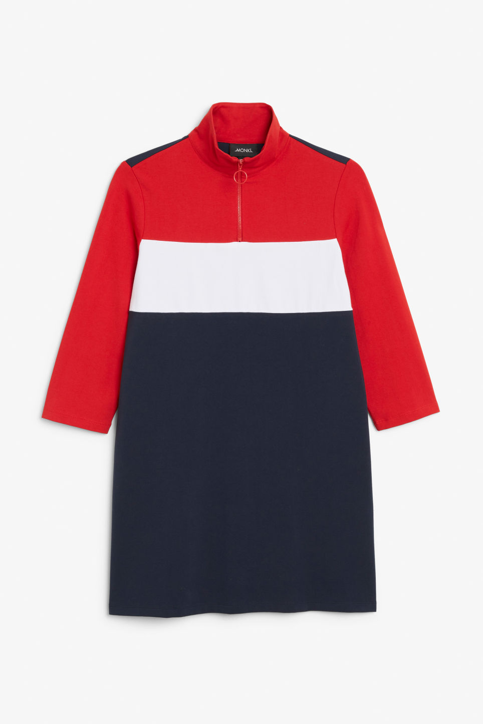 Front image of Monki colour block dress in blue