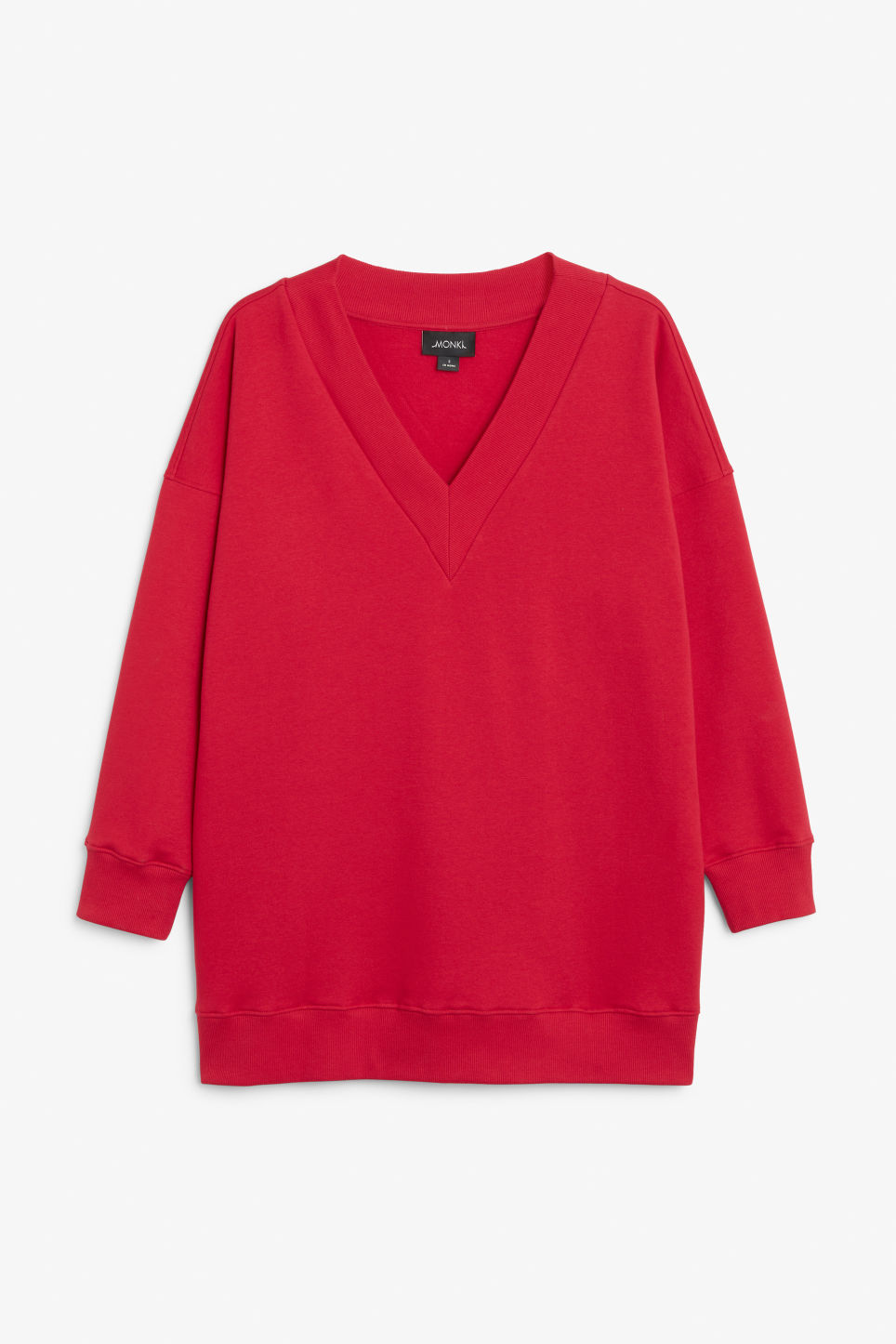 Front image of Monki v-necked sweater in red