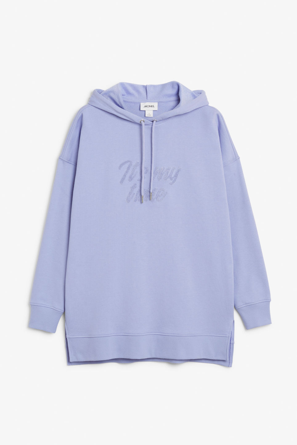 Front image of Monki long side slit hoodie in purple