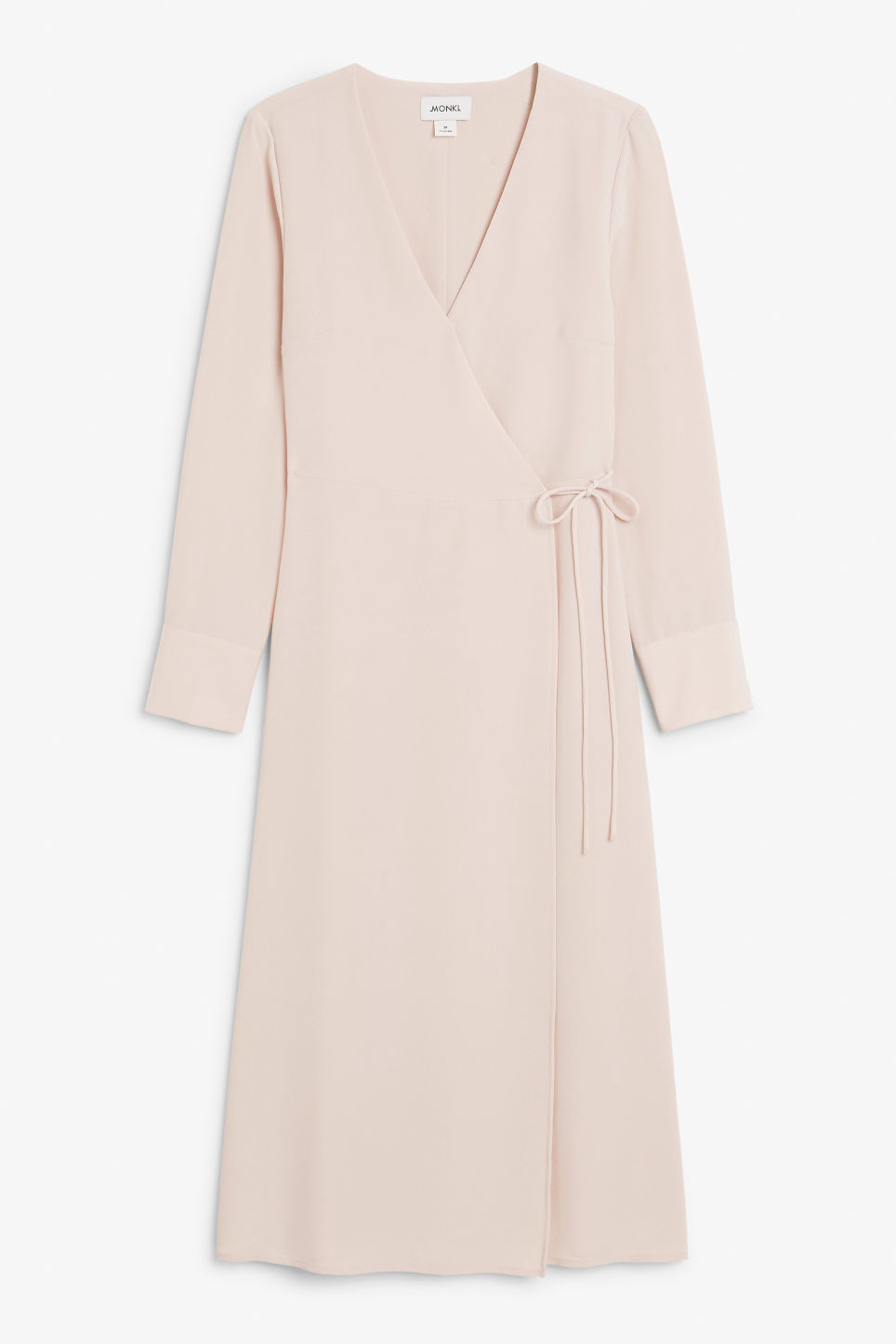 Front image of Monki long wrap dress in pink