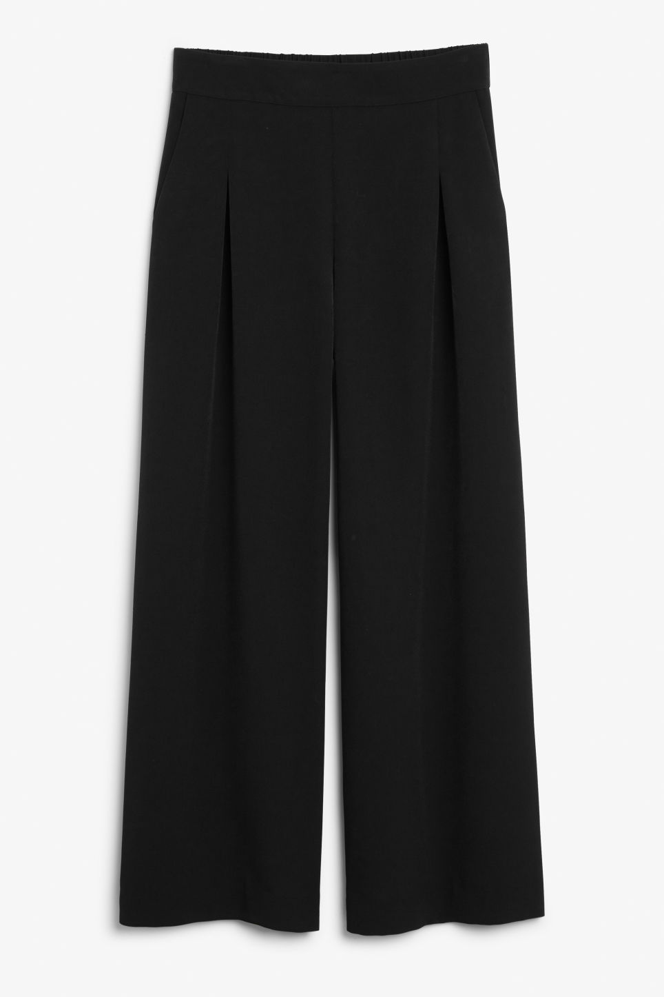 Front image of Monki wide flowy trousers in black