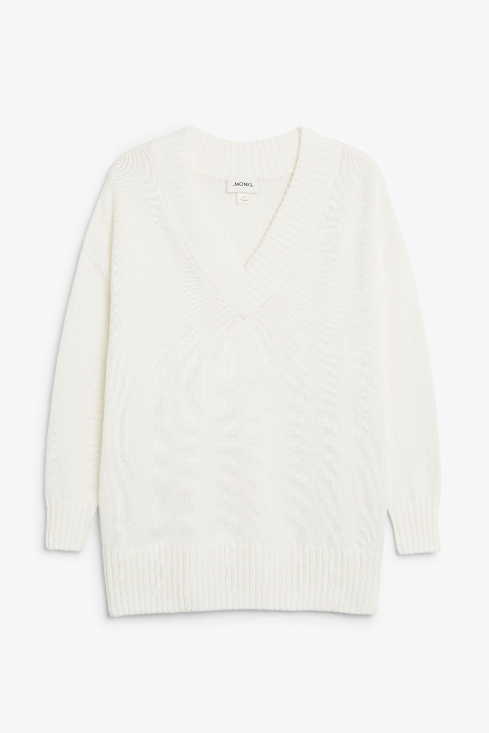 Front image of Monki knitted v-neck sweater in white