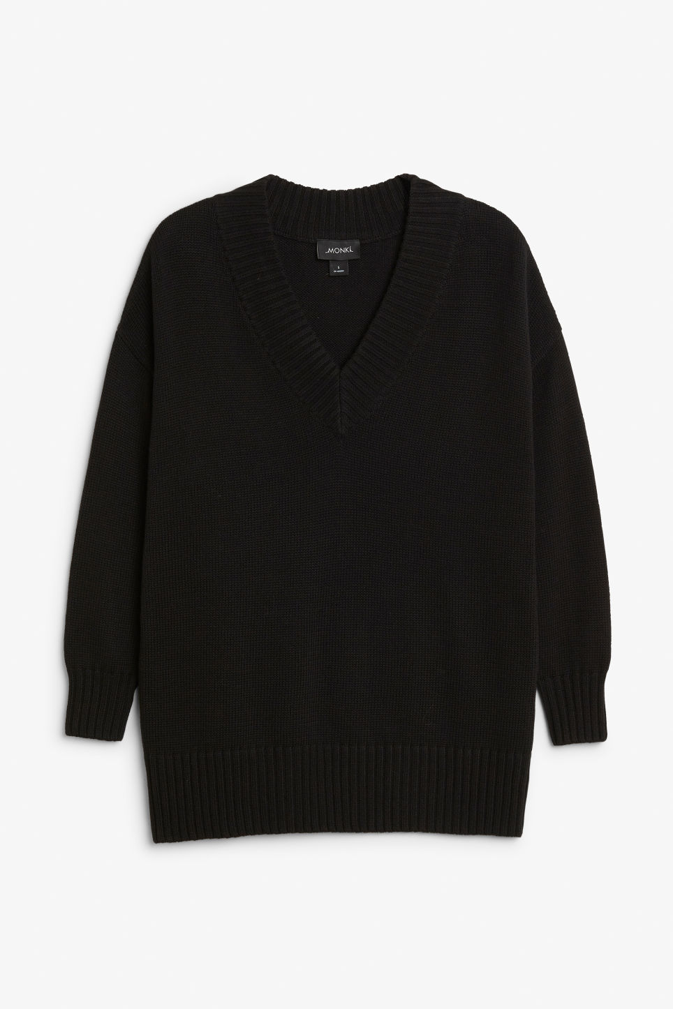 Front image of Monki knitted v-neck sweater in black