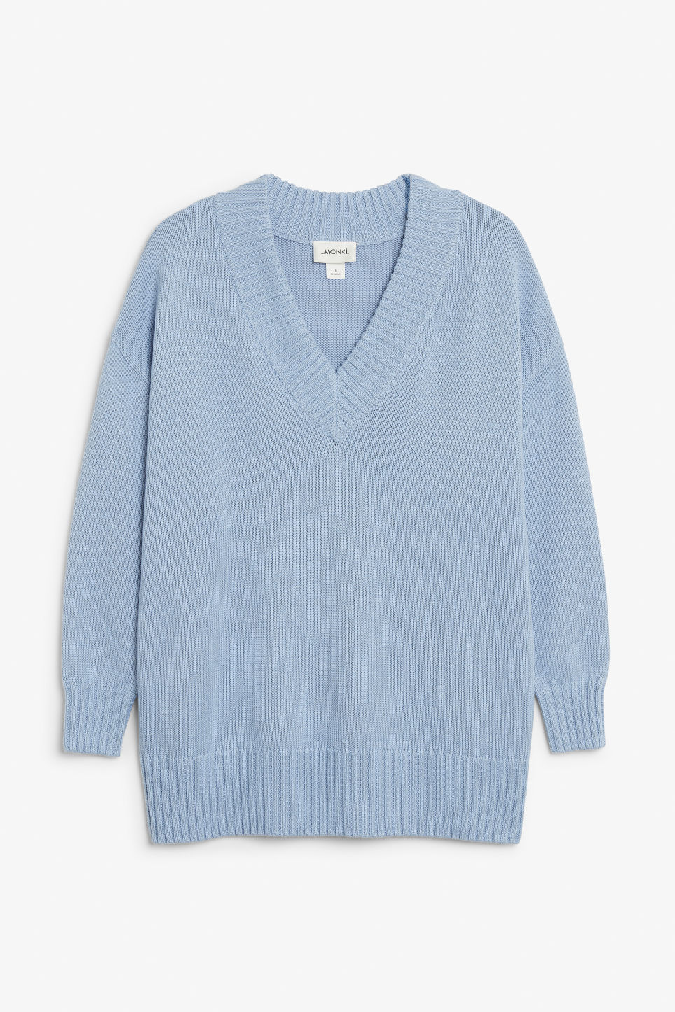 Front image of Monki knitted v-neck sweater in blue