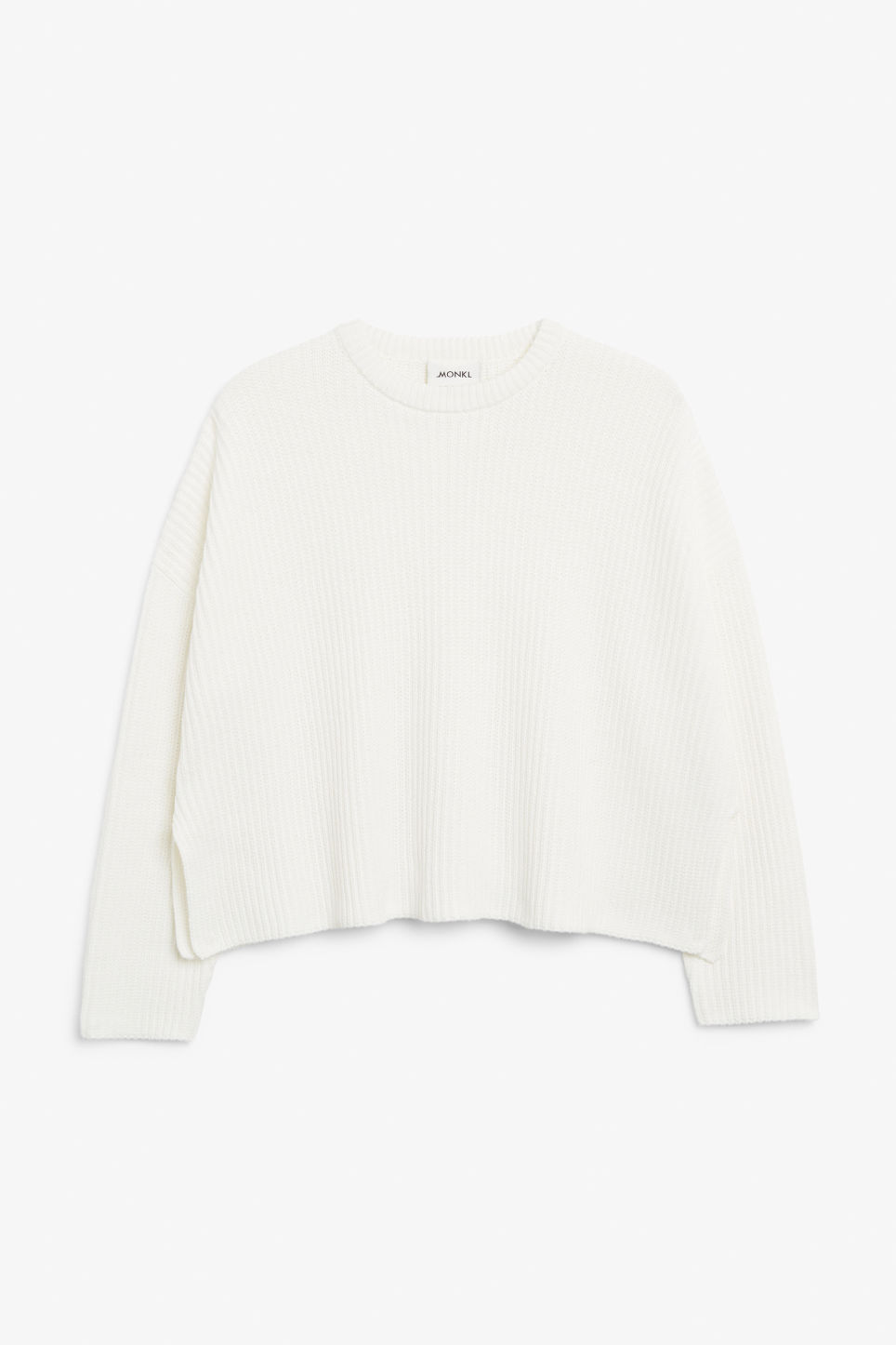 Front image of Monki ribbed oversized sweater in white