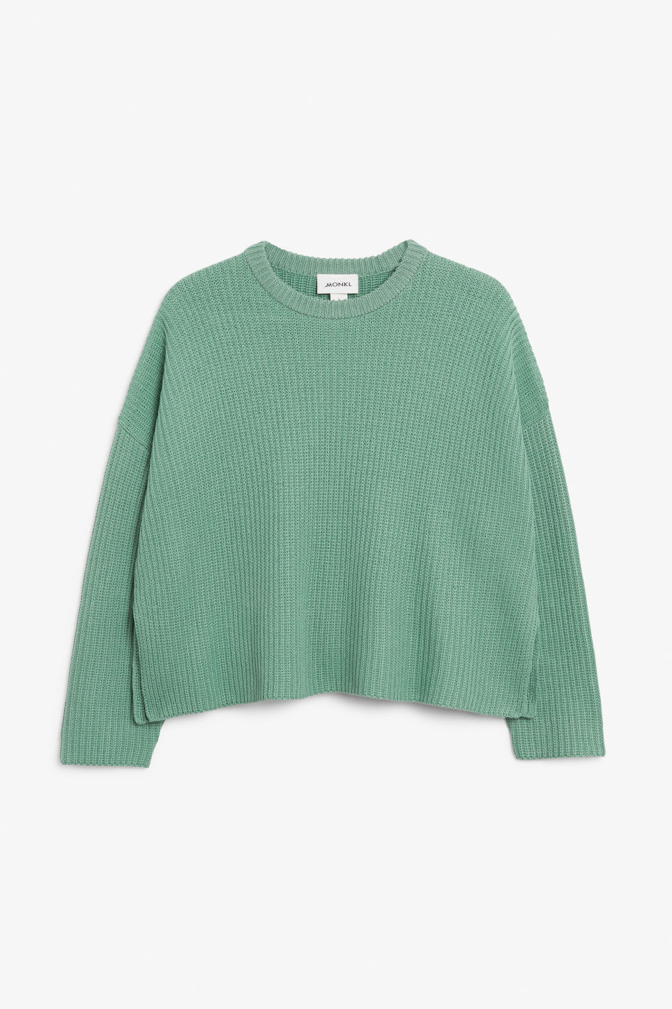 Front image of Monki ribbed oversized sweater in green