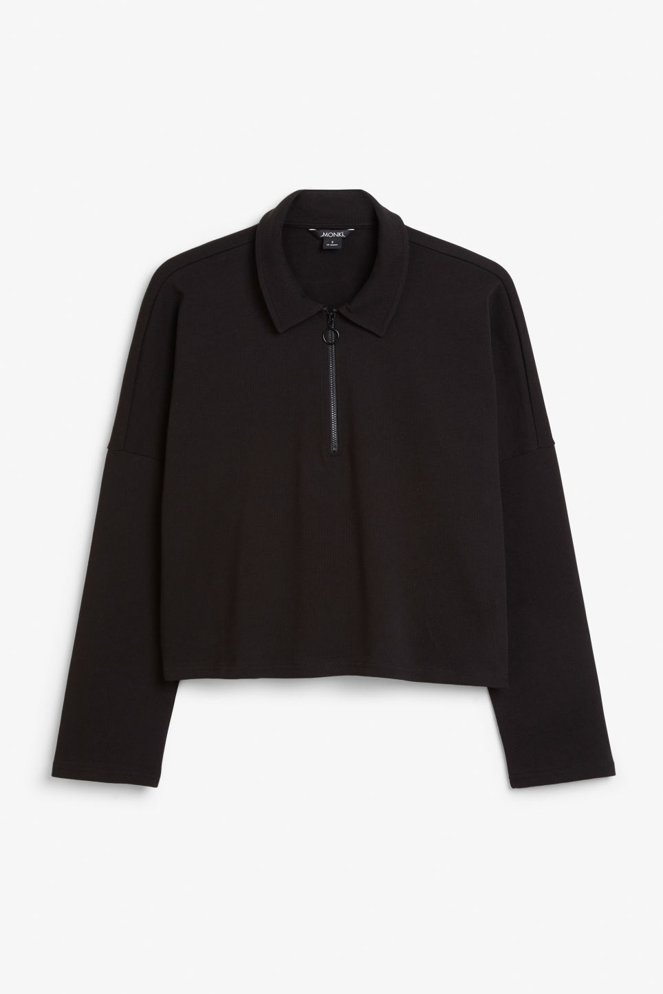 Front image of Monki spread collar polo in black