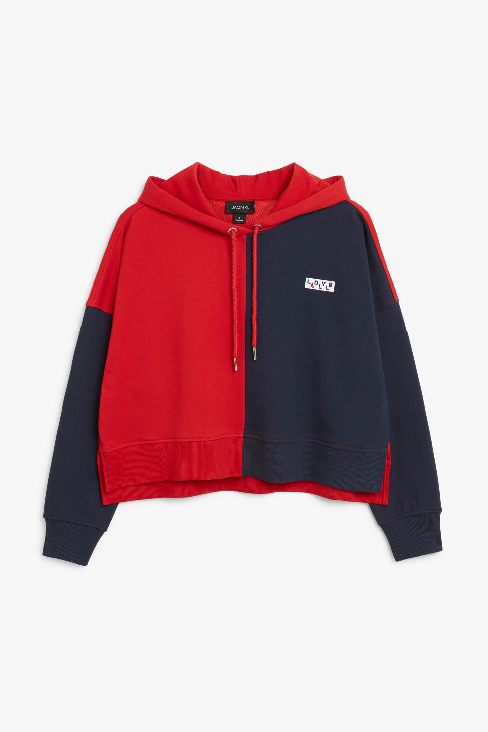 Front image of Monki cropped statement hoodie in red