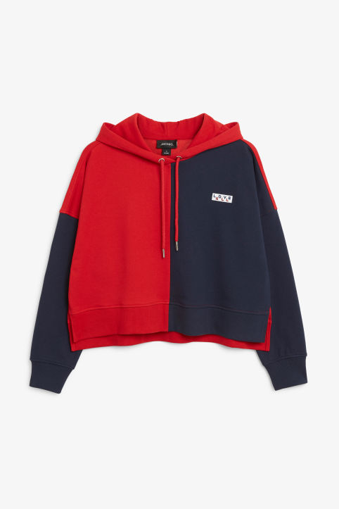 Cropped colour block hoodie