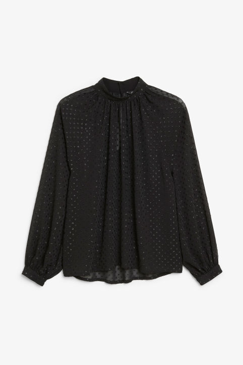 Front image of Monki pleated neckline blouse in black