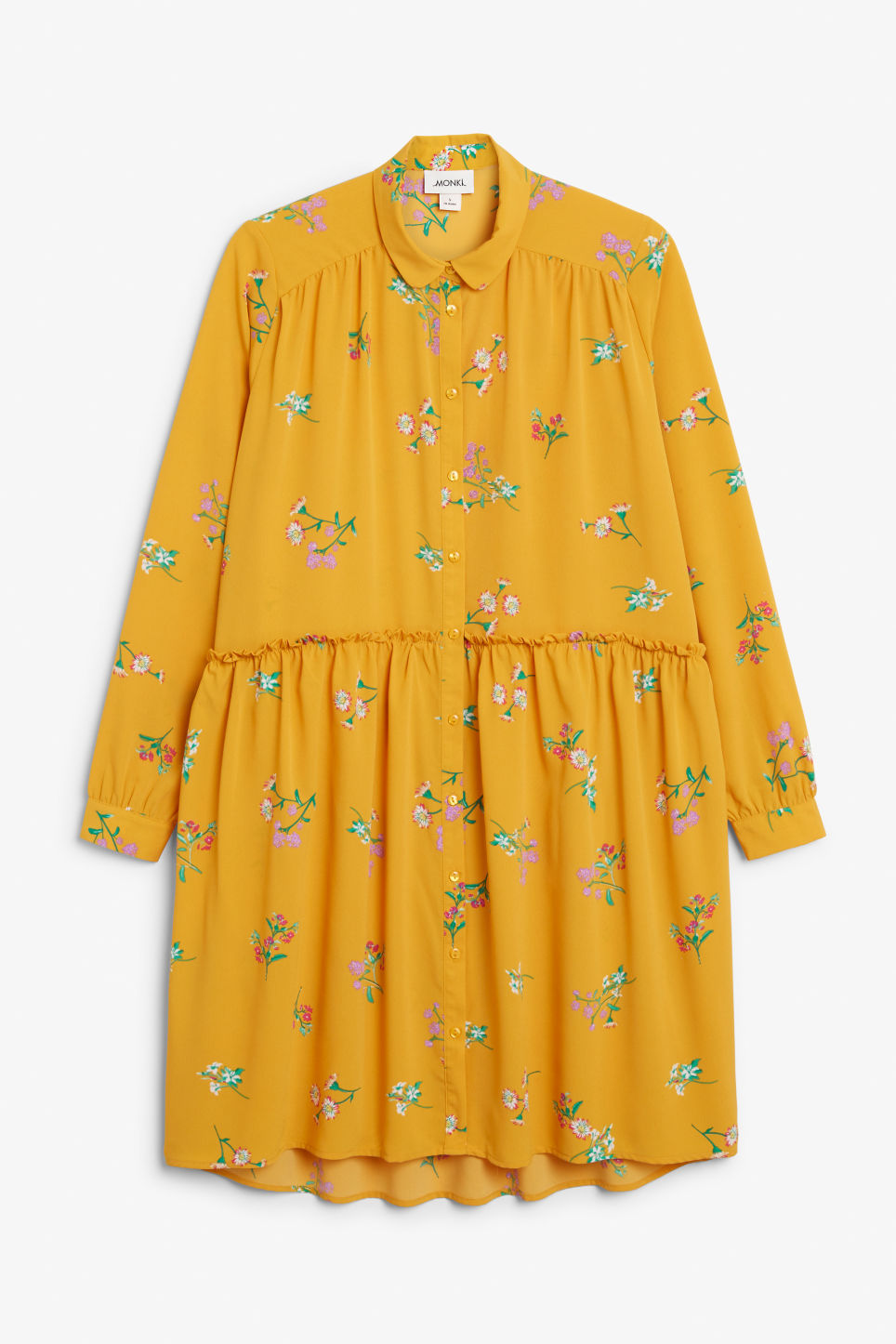 Front image of Monki ruffle waist dress in yellow