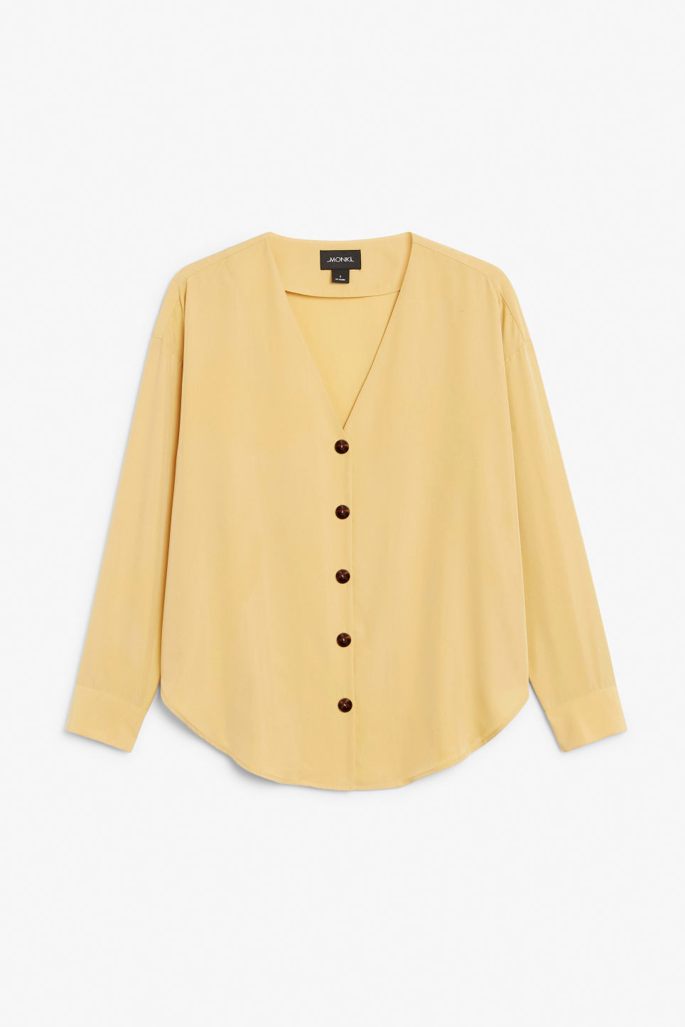 Front image of Monki v-neck blouse in yellow