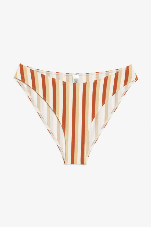 Front image of Monki high-legged bikini briefs in orange