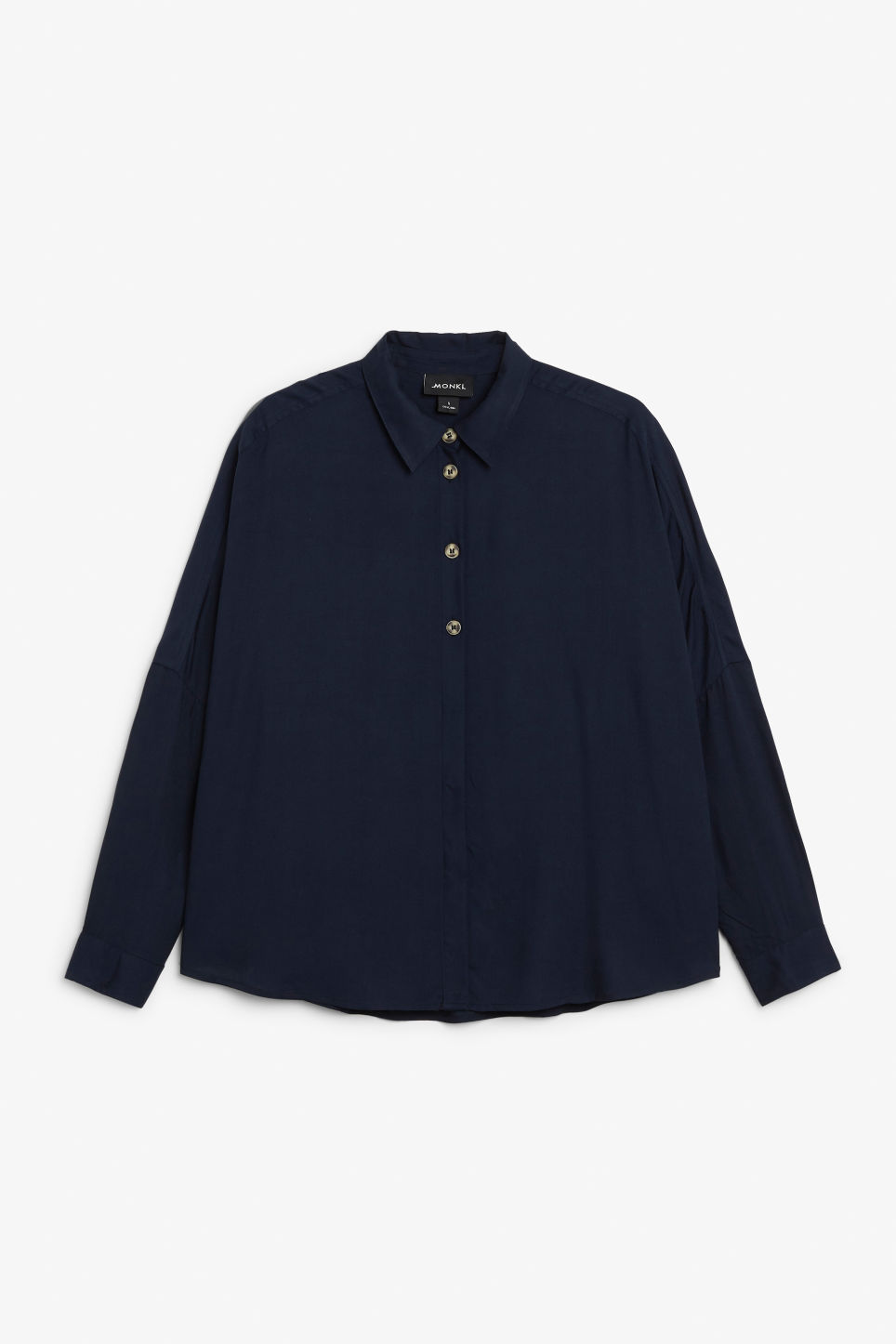 Front image of Monki flowy button-up blouse in blue