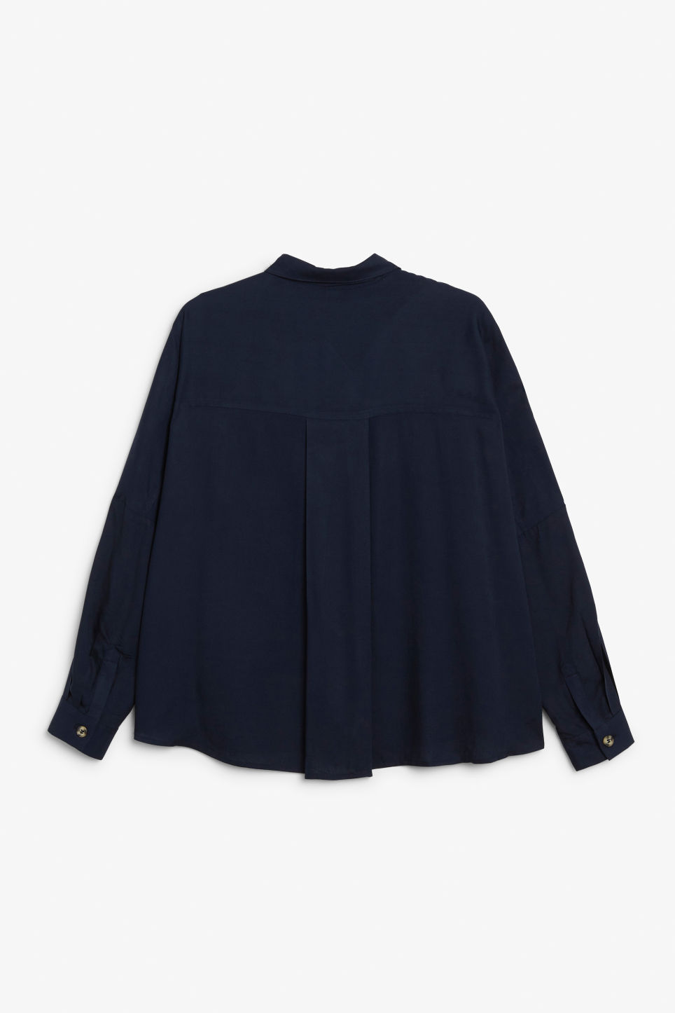 Back image of Monki flowy button-up blouse in blue