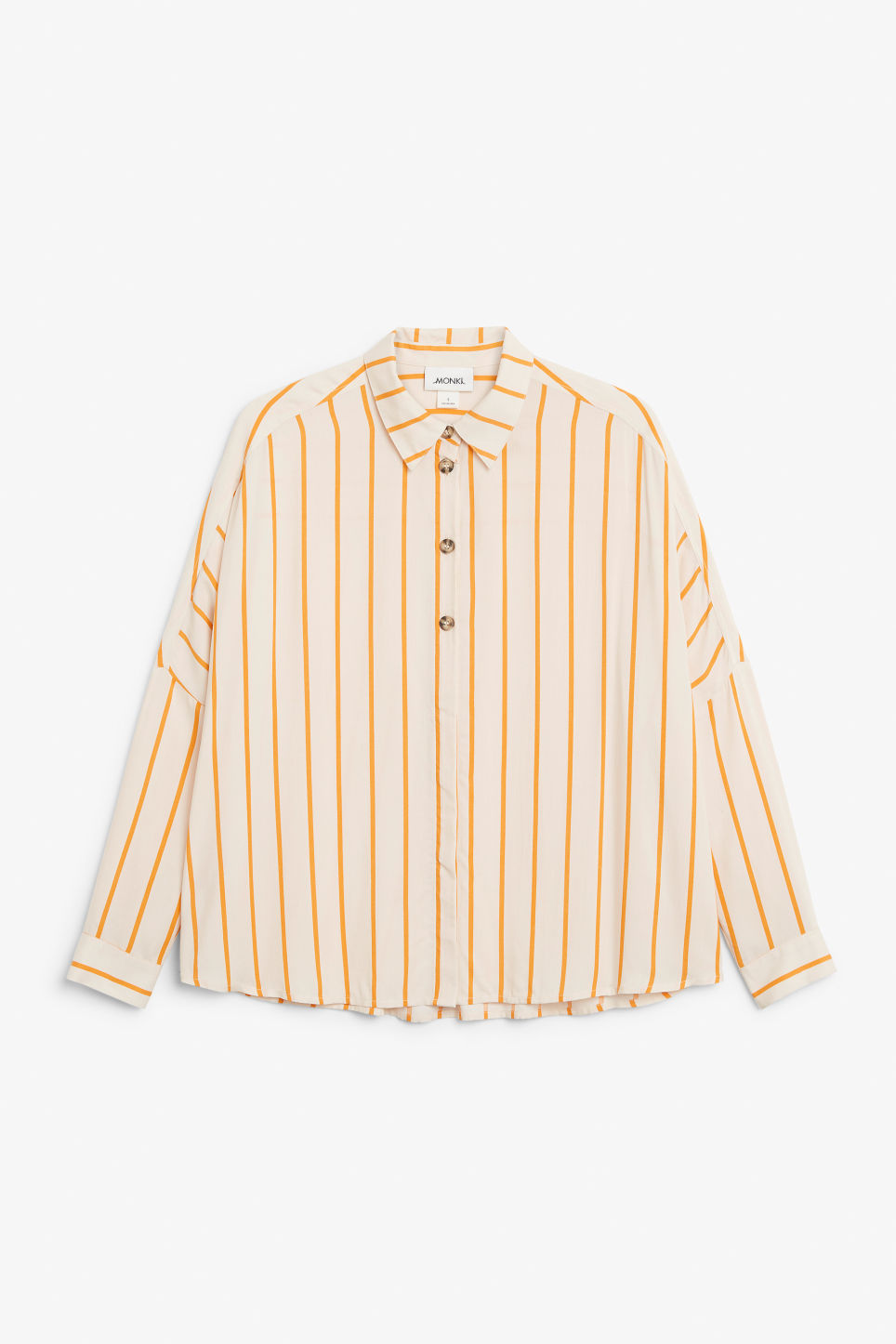 Front image of Monki flowy button-up blouse in beige