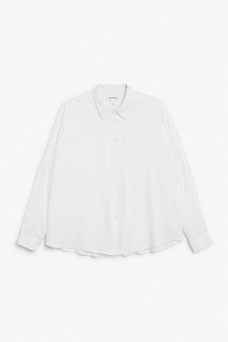 Front image of Monki flowy button-up blouse in white
