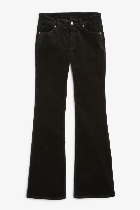 Flared trousers in cord