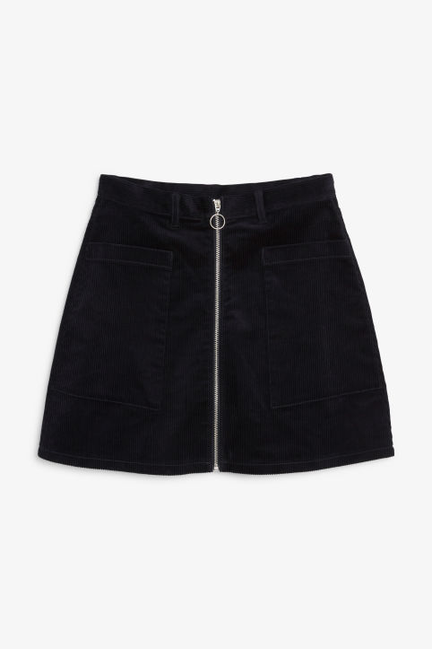 Front image of Monki preppy a-line skirt in blue