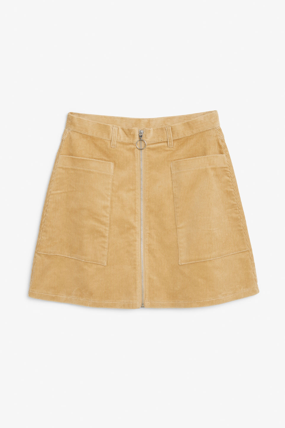 Front image of Monki preppy a-line skirt in beige