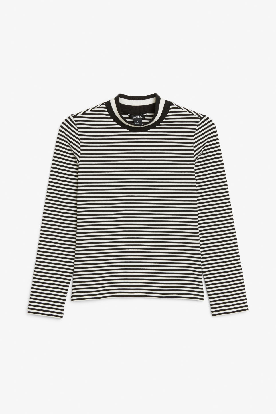 Front image of Monki long-sleeved sporty top in black