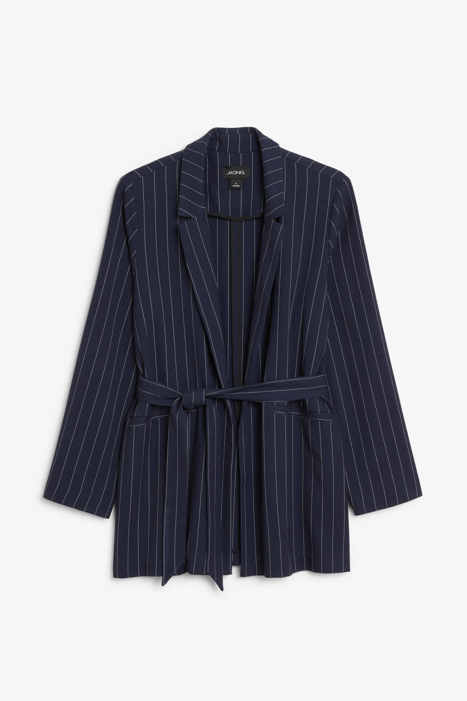 Front image of Monki belted blazer in blue