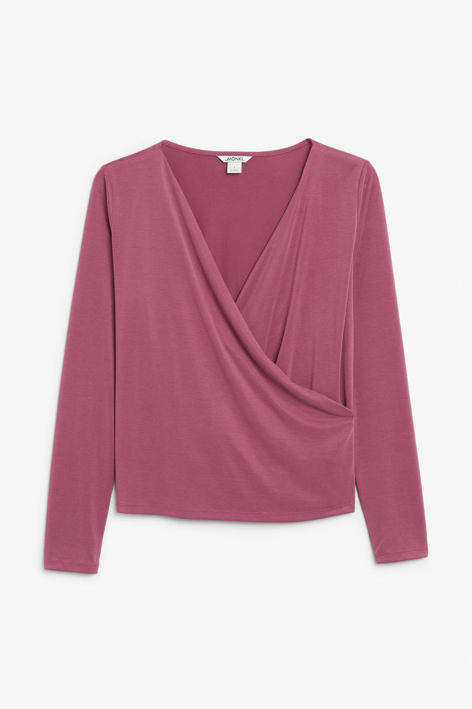 Front image of Monki super-soft wrap top in pink