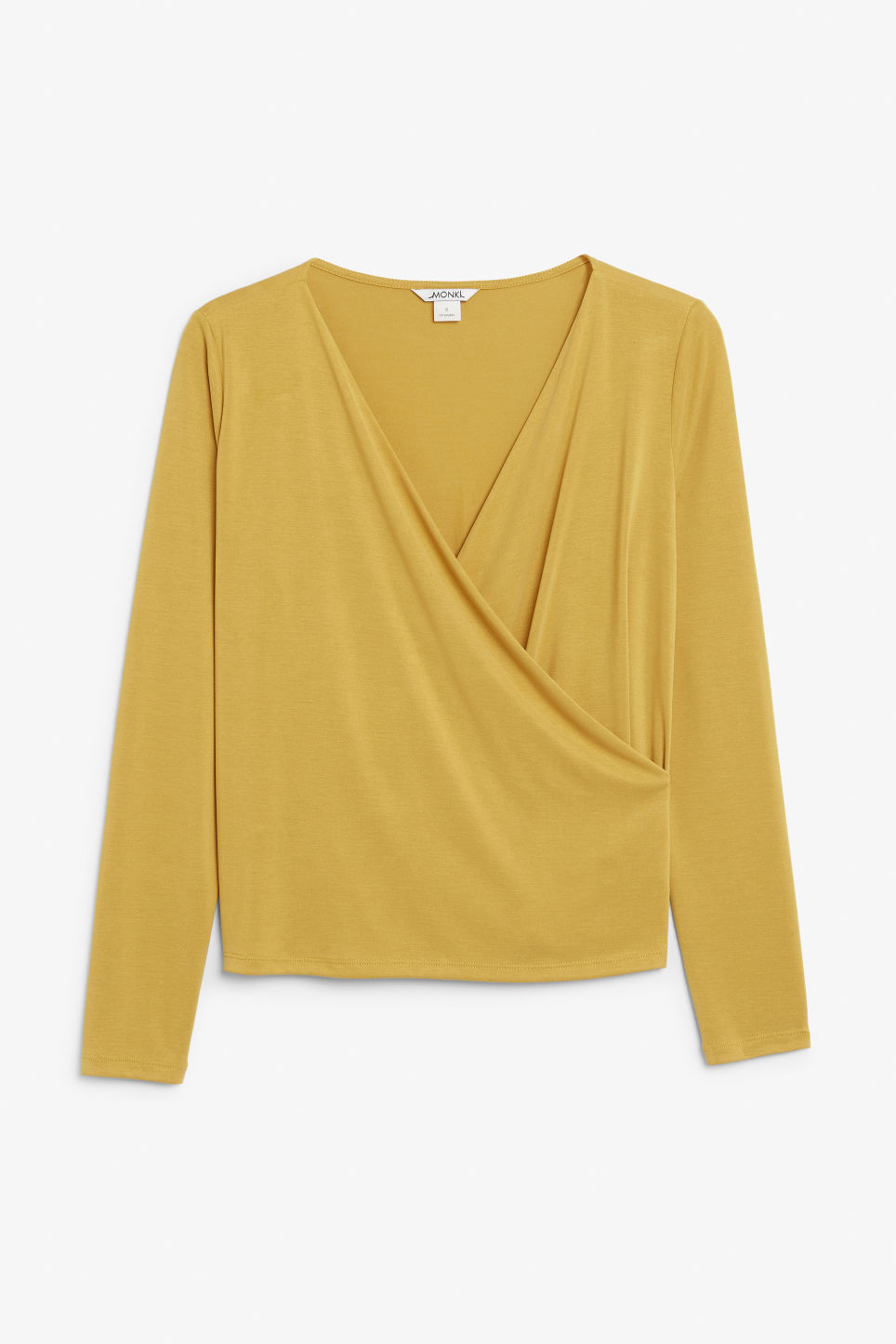 Front image of Monki super-soft wrap top in yellow