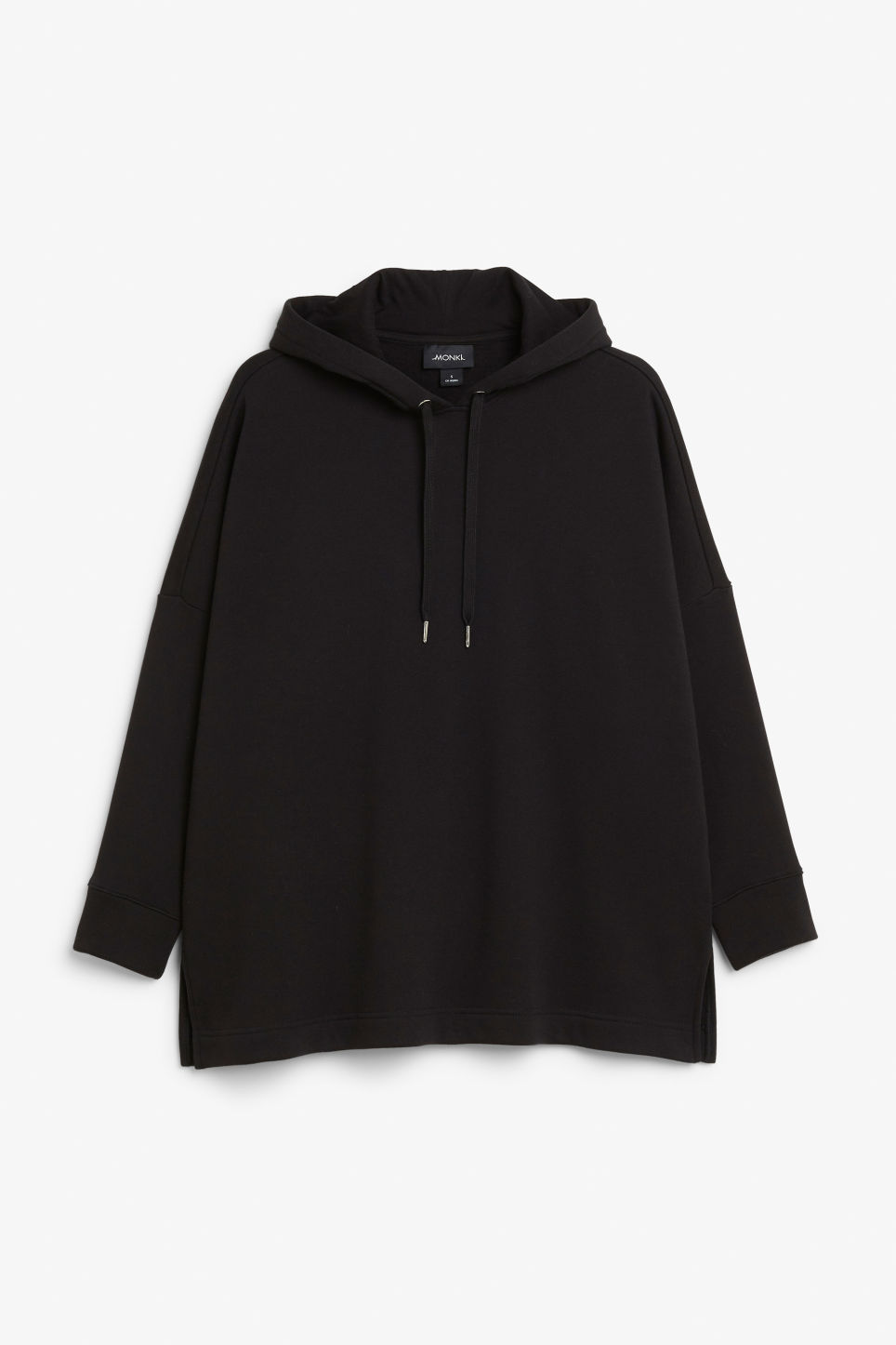 Front image of Monki drop shoulder hoodie in black