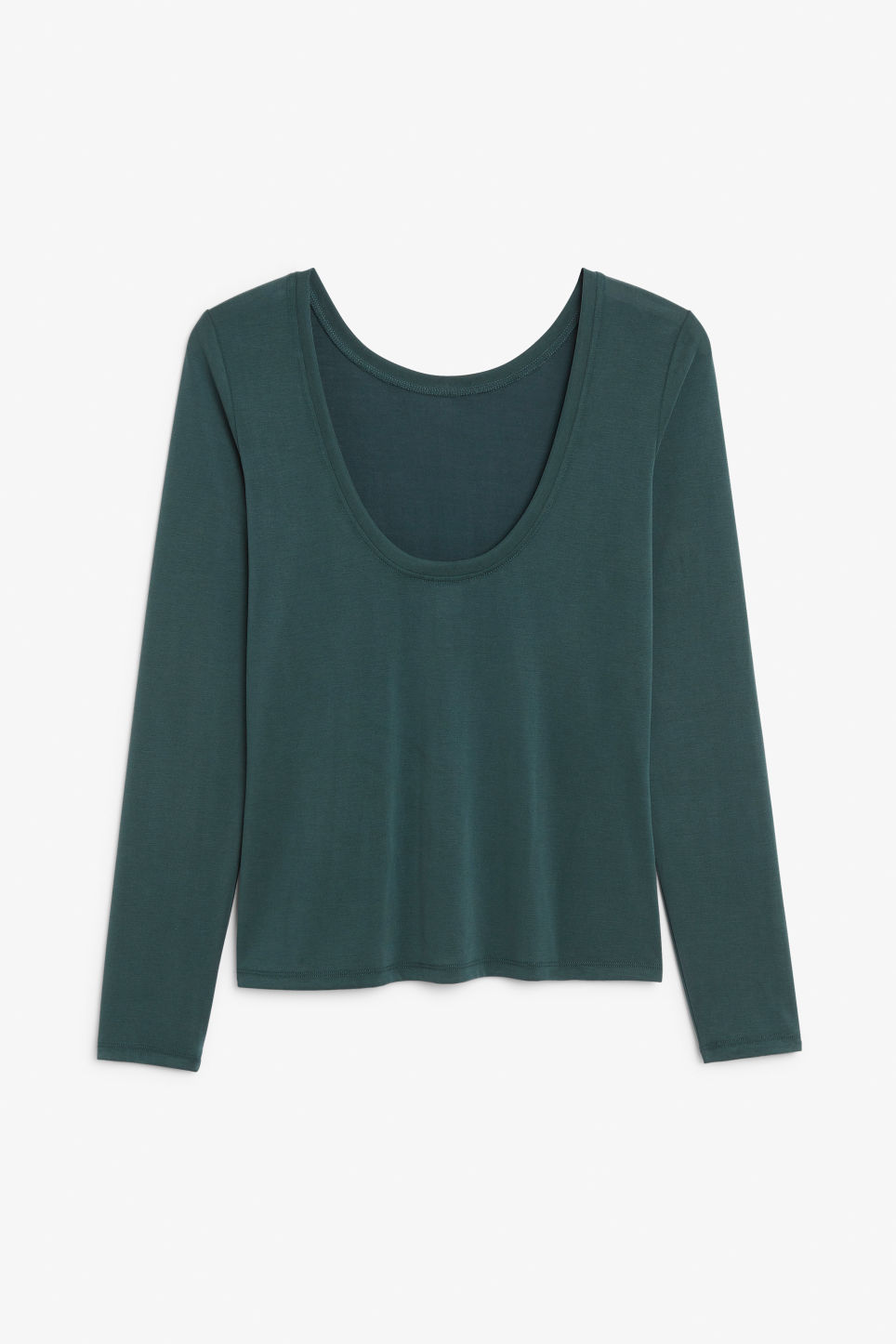 Back image of Monki super-soft long-sleeved top in green