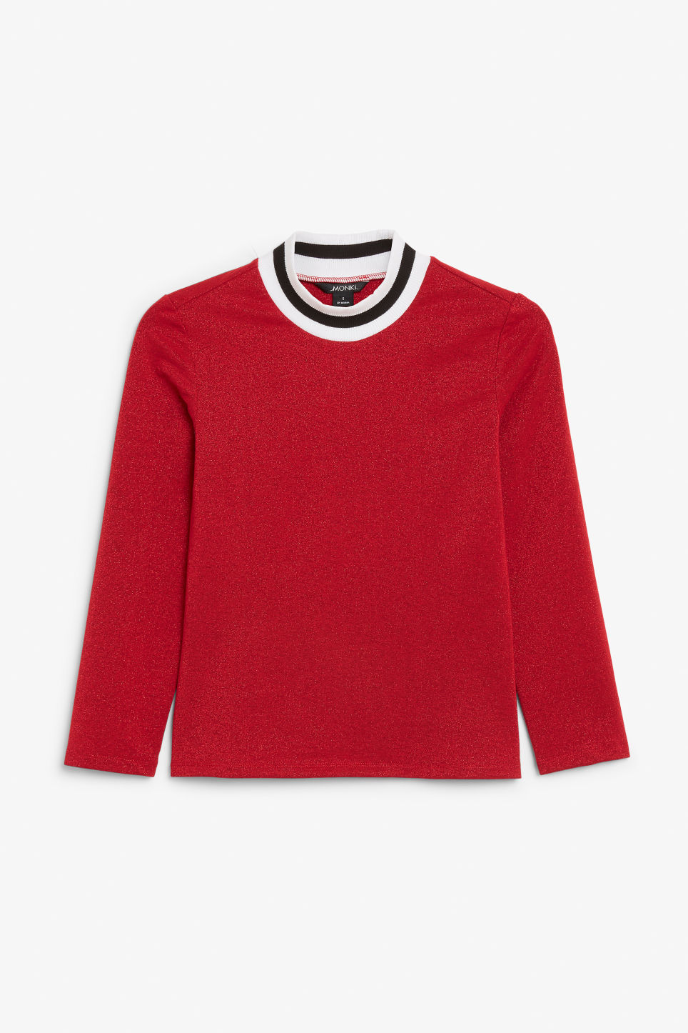 Front image of Monki glittery top in red