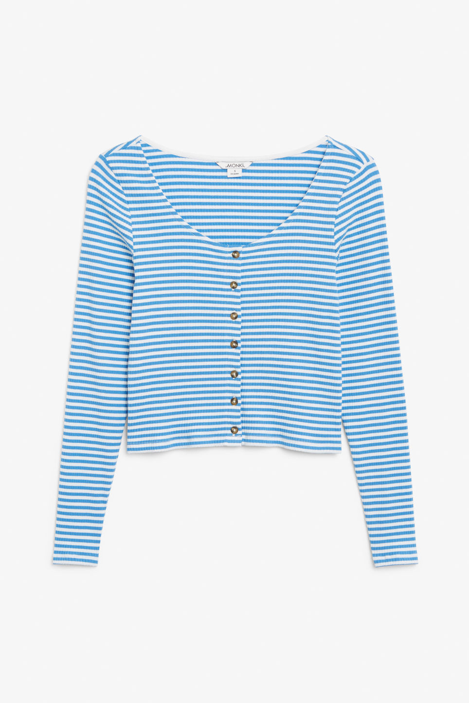 Front image of Monki scoop neck top in blue